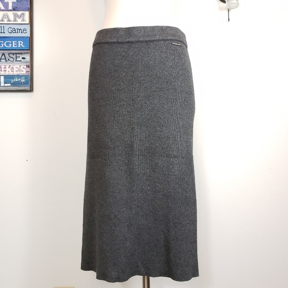 328df2ef08 Michael Kors Skirts | Mk Shift Ottoman Knitted Stretch Wool Viscose ...